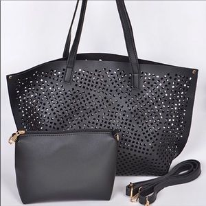 Black Laser Cut Tote With Pouch